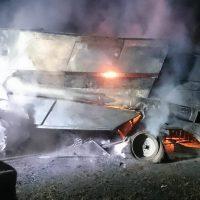 Pożar kombajnu w Sobocie